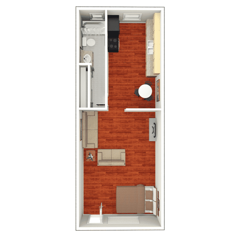 Studio 1 Bath floor plan